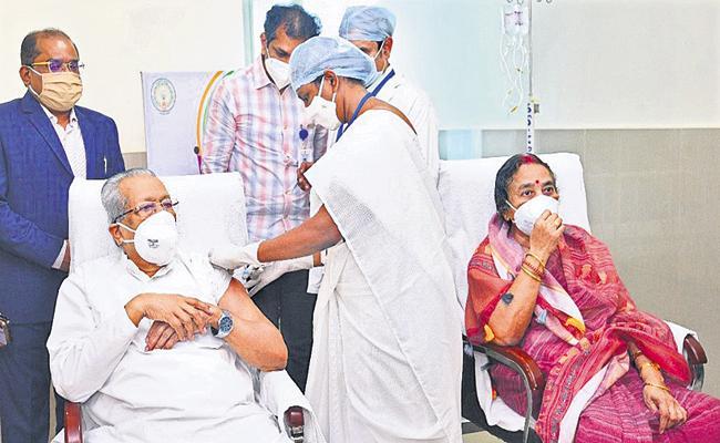 Corona vaccine for governor couple - Sakshi