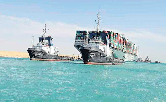 Suez Canal reopens after giant stranded ship is freed - Sakshi
