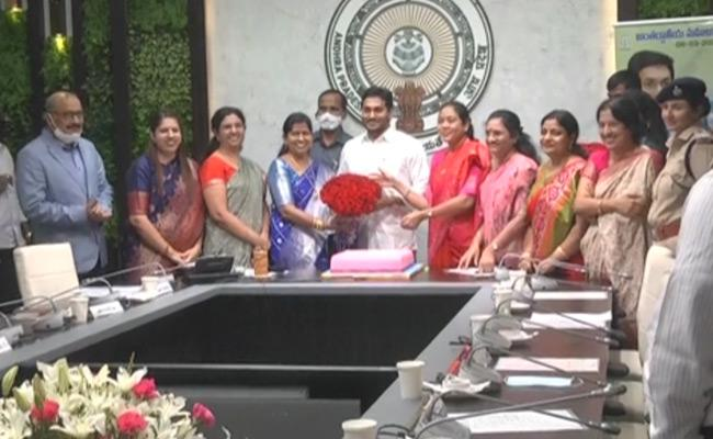 Cm Ys Jagan Participating In Womens Day Celebrations - Sakshi