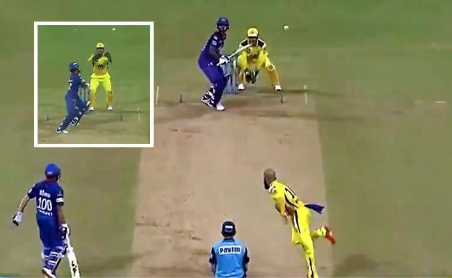 IPL 2021:Ms Dhoni Trying To Stump Dhawan Beamer From Moeen Ali - Sakshi