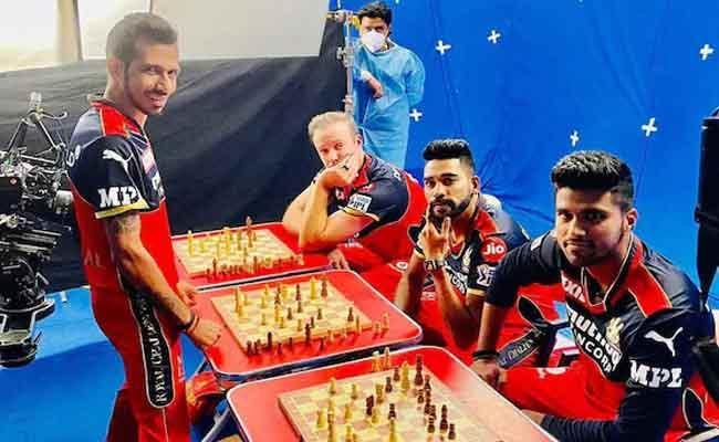 IPL 2021:Chahal Takes On AB De Villiers Two Other RCB Teammates In Chess - Sakshi