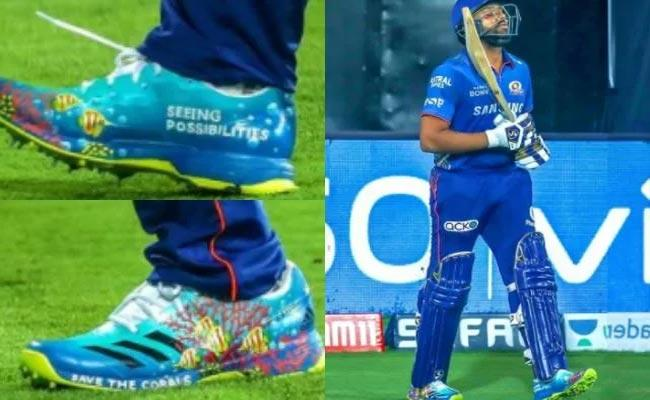 IPL 2021: Rohit Sharma Wore Shoes With Message Save the Corals Vs SRH - Sakshi