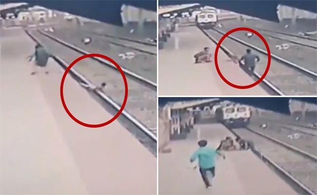 Maharashtra Mayur Shelkhe saves life of a child who lost his balance - Sakshi