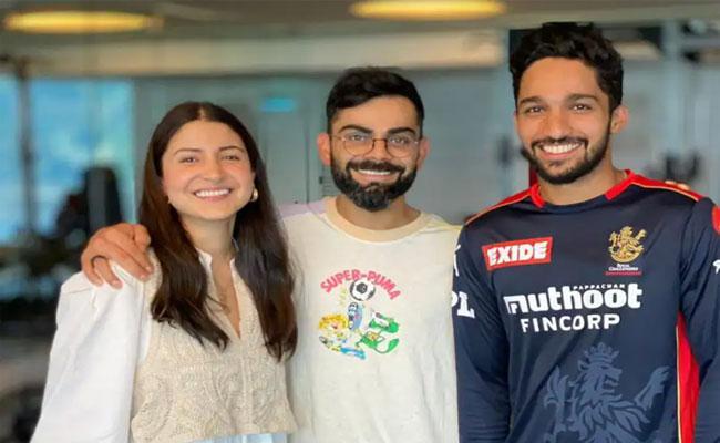 IPL 2021: RCBs Mohammed Azharuddeen Shares Pic With Virat Kohli And Anushka Sharma - Sakshi