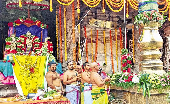 Brahmotsavam begins with Dwajarohanam in Ontimitta Kodandaramaswamy temple - Sakshi