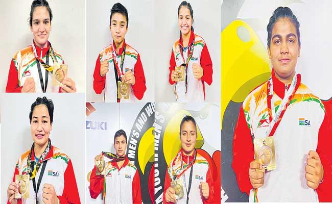 Indian women boxers wins youth world championships with 7 gold medals - Sakshi
