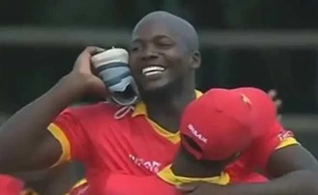 Zimbabwe Bowler Hilarious Celebration With Sore After Getting Wicket - Sakshi
