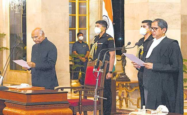 Justice N V Ramana sworn in as 48th Chief Justice of India - Sakshi