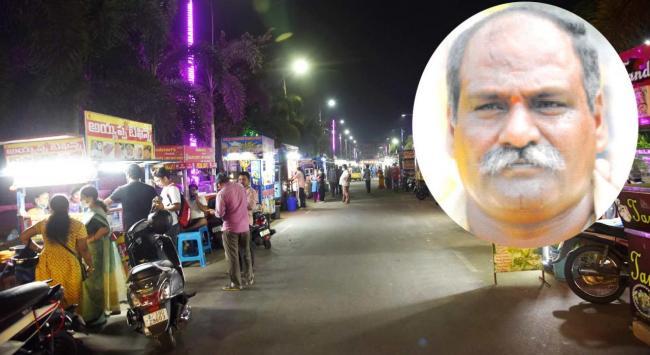 TDP MLA Velagapudi Ramakrishna Babu Followers Occupied Food Court - Sakshi