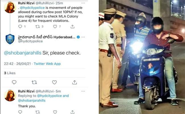 Women Tweets To Police on Curfew Violation In Hyderabad - Sakshi