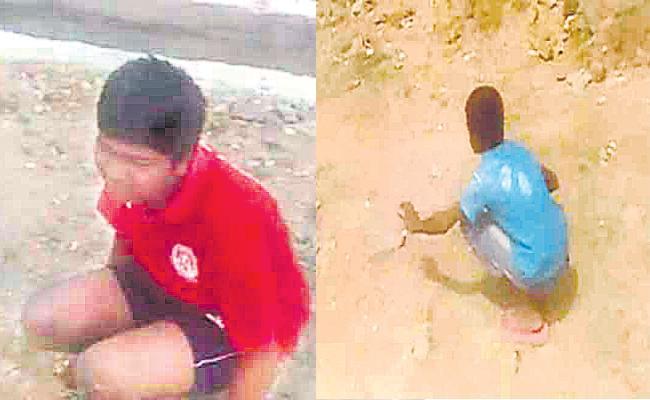 Panchayat Secretary Criticised For Action On Children Not Wearing Mask - Sakshi