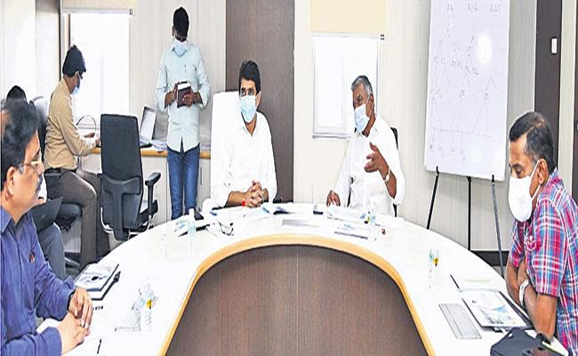 Ministers Peddireddy and Buggana at the Mines Department review meeting - Sakshi