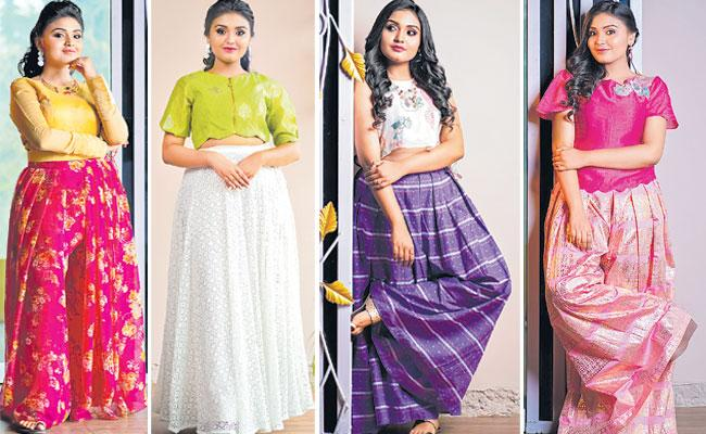 Women Party Wear Dresses: Skirt Palazzo, Crop Top, Indo Western Style - Sakshi