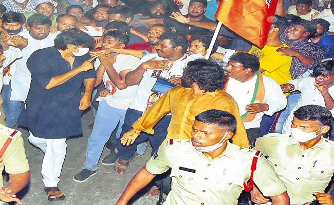 Janasena Activists Fires On Ratna Prabha - Sakshi