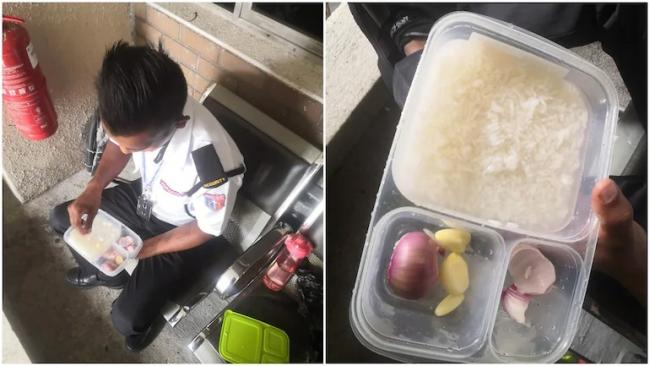 Malaysia Security Guard Eats Rice With Just Onions And Garlic For Lunch - Sakshi