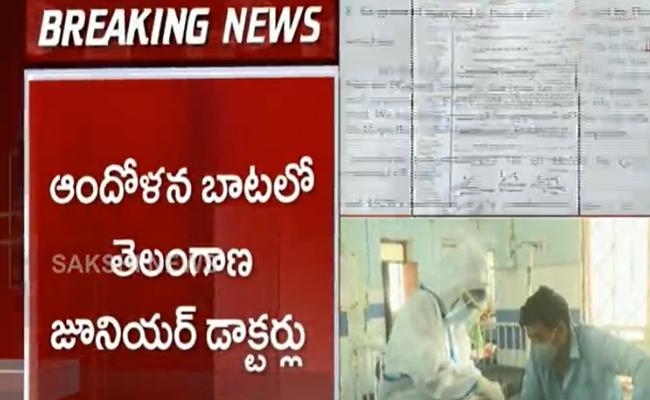 Telangana Junior Doctors Protest Over Salary Hike - Sakshi