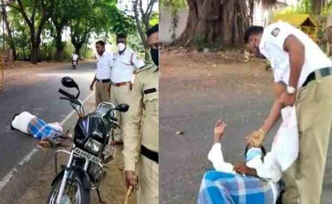 Covid Rules: Patient Face Problem As Police Stop Bike Mysore - Sakshi