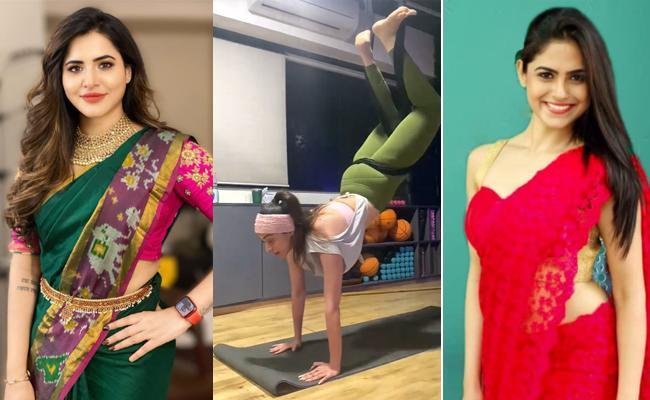 Social Hulchul: Ashu Reddy Traditional Look, Lakshmi Rai Workout - Sakshi