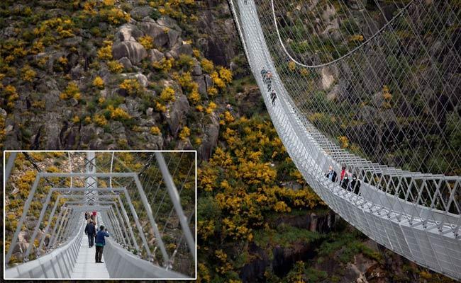 World Longest Pedestrian Suspension Bridge In Portugal - Sakshi
