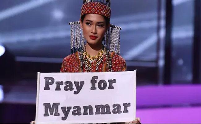 Contestant At Miss Universe Pageant Pleads Pray For Myanmar - Sakshi