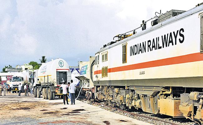 Oxygen Express reached Guntur - Sakshi
