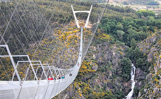 World Longest Pedestrian Suspension Bridge Opens In Portugal, Details Here - Sakshi
