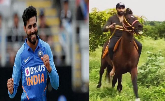 Watch Ravindra Jadeja Hillarious Showing Off Horse Riding Skills Virea - Sakshi