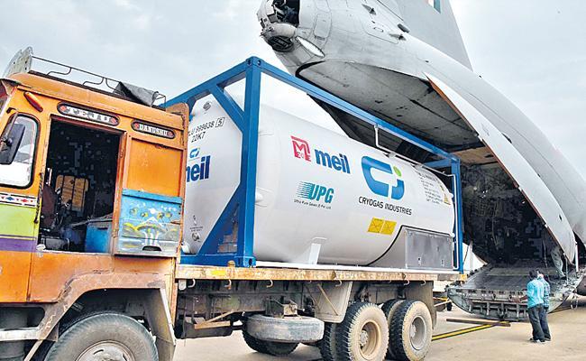 Oxygen Tanker Arrived Donated By Megha - Sakshi
