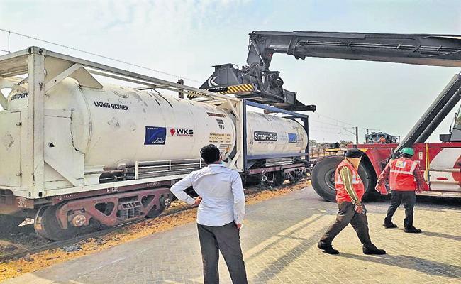 Another oxygen express arrives at Krishnapatnam Port - Sakshi