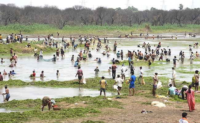 Suryapet: Vattikhammam Pahad Villagers Fishing in Pedda Cheruvu - Sakshi