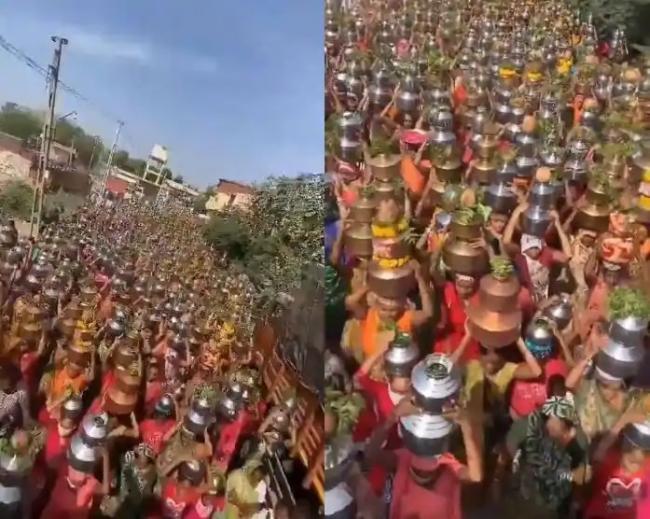 Women Gather at Gujarat Temple to Eradicate Coronavirus - Sakshi