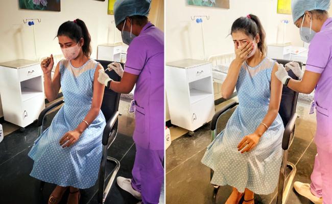 Heroine Payal Rajput Gets Her First COVID Vaccine Shot - Sakshi