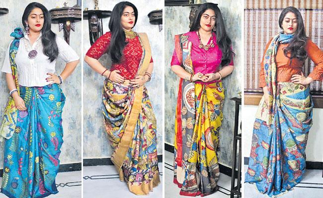 Summer Collection: Kalamkari Saree, Crop Top, Shirt Style Long Blouse - Sakshi