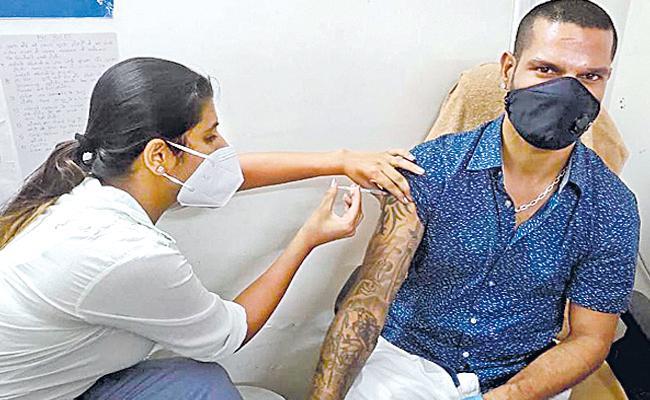 Shikhar Dhawan Takes First Dose Of Covid 19 Vaccine - Sakshi