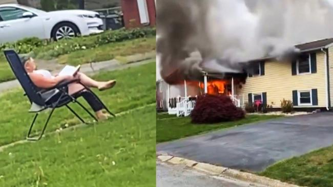 Woman Sets Her House on Fire And Then Sits in Lawn to Watch it Burn - Sakshi