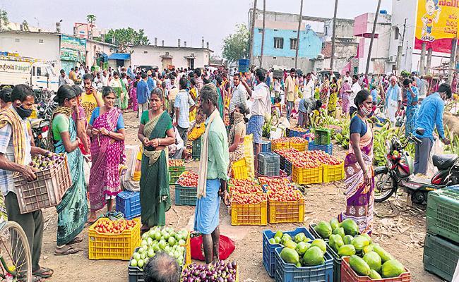 largest inter-state vegetable market in Uttarandhra - Sakshi