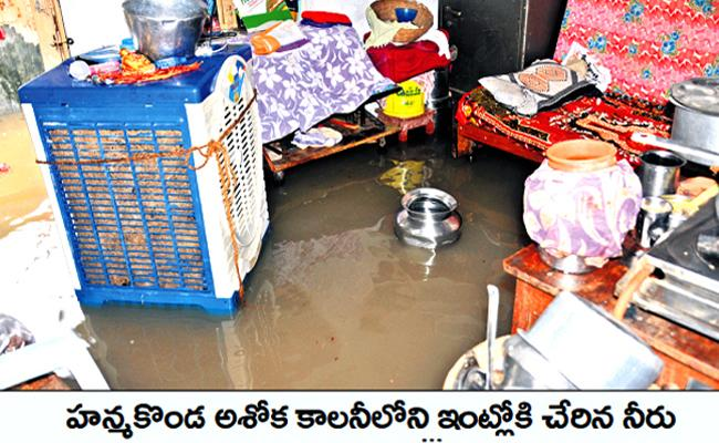Heavy Rains In Warangal And Rain Water Enters In To Houses - Sakshi