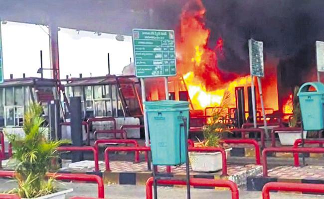 Massive fire accident at Kaja Tollgate - Sakshi