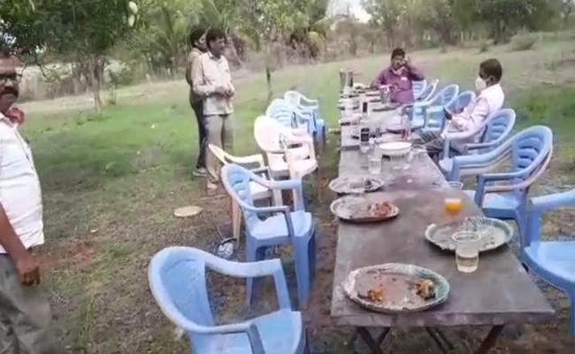 Panchayati Raj Department Officers Drink And Dance In Kondapaka - Sakshi