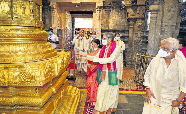 CJI NV Ramana in Tirumala Srivari Seva - Sakshi