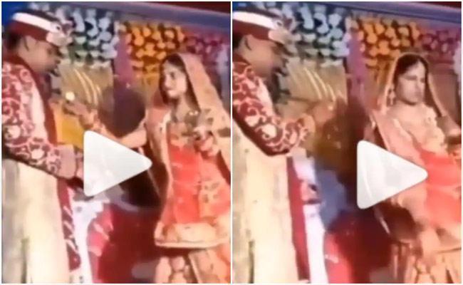 Dulhan Ka Attitude: Bride Angrily Throws Mithai on Wedding Stage Viral Video - Sakshi