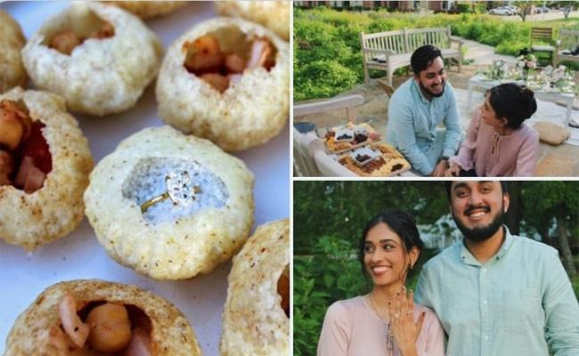 This Man Proposed To His Girl Friend By Hiding The Ring Inside A Pani Puri - Sakshi