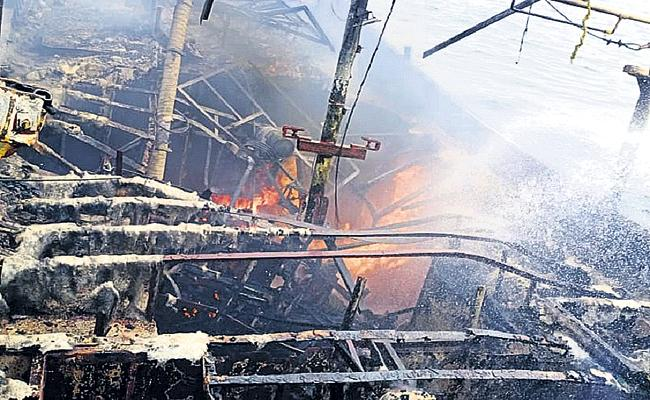 Fire Accident To Chennai boat at sea - Sakshi