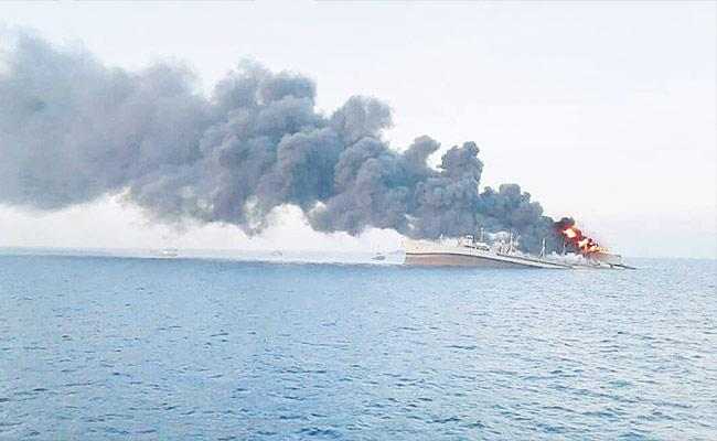 Iran Biggest Warship Catches Fire And Sinks In Gulf of Oman - Sakshi