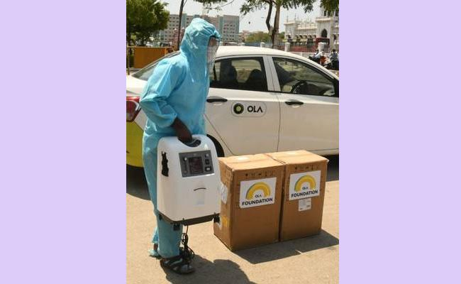 Ola Foundation Free Door Delivery Of Oxygen Concentrators To Covid Patients - Sakshi