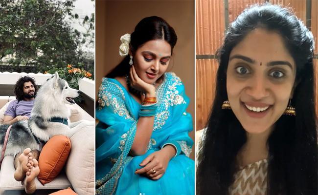 Social Hulchul: Vijay Devarakonda Play With Dog, Monal Gajjar Looks Cute - Sakshi