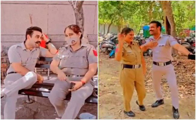 Two Delhi Cops Face Action For Making Little Fun Videos In Duty - Sakshi