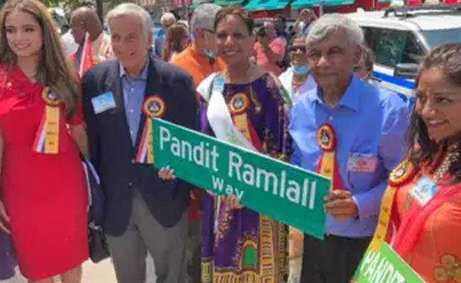 New York Street Renamed As Pandit Ramlall - Sakshi