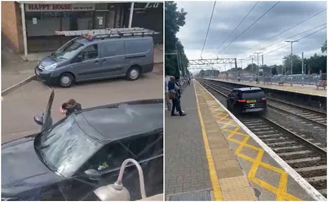 Stolen Range Rover Car Flee On Railway Tracks Video Went Viral - Sakshi