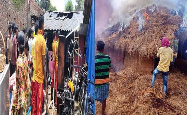 Odisha: Two Families Homeless Malkangiri Fire Accident - Sakshi